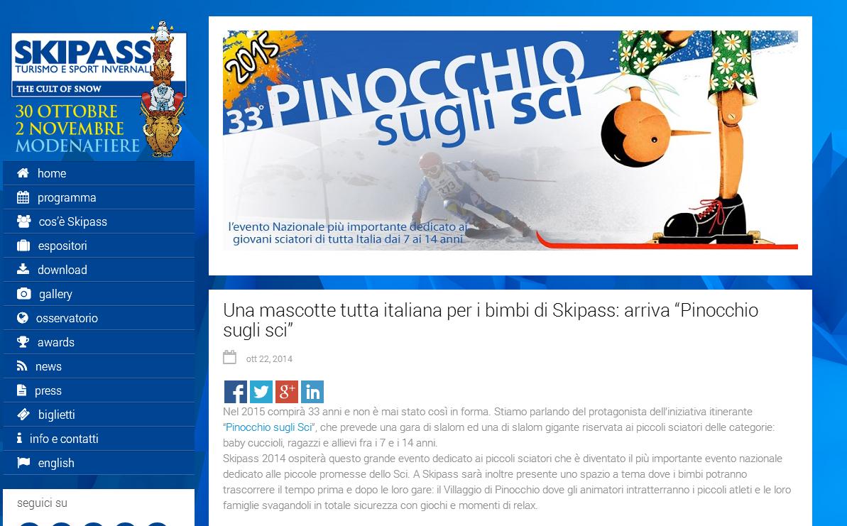 Rassegna stampa Pinocchio sugli Sci a Skipass 2014